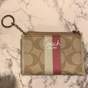 Coach Signature Coin Purse with Pink/White Stripe